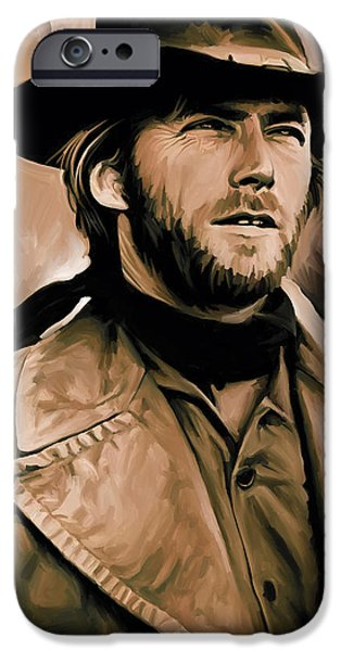 Celebrities Art iPhone Cases - Clint Eastwood Artwork iPhone Case by Sheraz A
