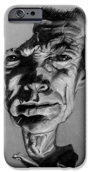 Culture Pastels iPhone Cases - Clint Eastwood Black And Gray iPhone Case by Rob Hans