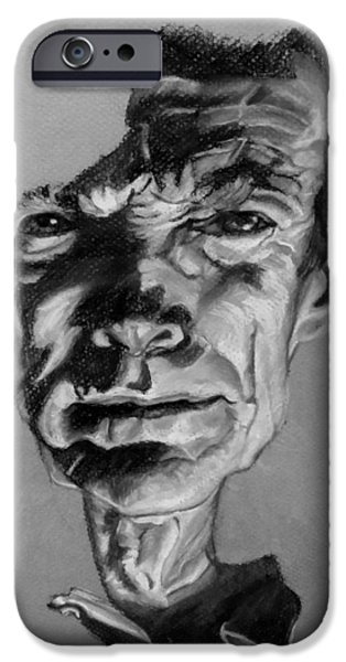 Culture Pastels iPhone Cases - Clint Eastwood Black And White iPhone Case by Rob Hans