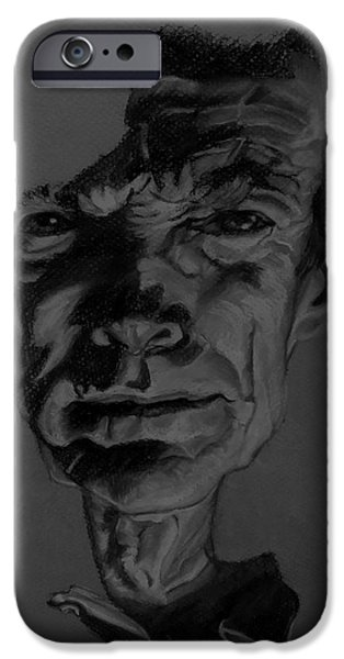 Culture Pastels iPhone Cases - Clint Eastwood Charcoal iPhone Case by Rob Hans