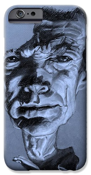Culture Pastels iPhone Cases - Clint Eastwood Cyan iPhone Case by Rob Hans