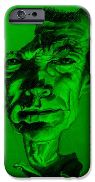 Culture Pastels iPhone Cases - Clint Eastwood Green iPhone Case by Rob Hans