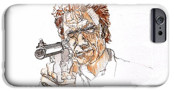 Dirty Drawings iPhone Cases - Clint Eastwood Is Dirty Harry iPhone Case by Sean Connolly