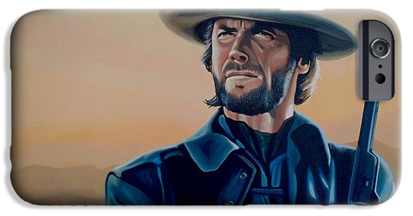 Celebrities Art iPhone Cases - Clint Eastwood  iPhone Case by Paul  Meijering