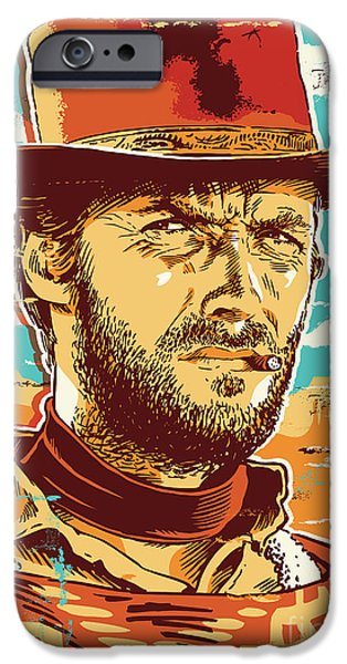 Dirty iPhone Cases - Clint Eastwood Pop Art iPhone Case by Jim Zahniser