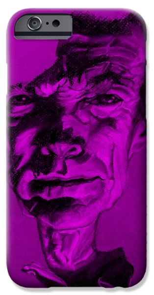 Culture Pastels iPhone Cases - Clint Eastwood Purple iPhone Case by Rob Hans