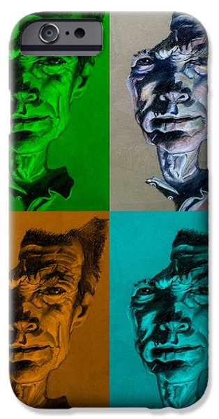 Culture Pastels iPhone Cases - Clint Eastwood Quad Colors iPhone Case by Rob Hans