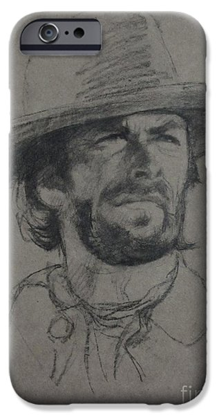 Creek iPhone Cases - Clint Eastwood iPhone Case by Sean Wu