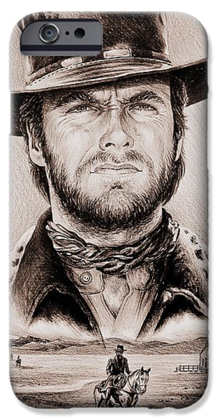 Sisters Drawings iPhone Cases - Clint Eastwood The Stranger ye old west edit iPhone Case by Andrew Read