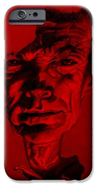 Culture Pastels iPhone Cases - Clint Eastwood Red iPhone Case by Rob Hans