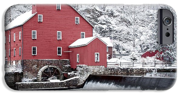 Red Barn In Winter iPhone Cases - Clinton Red Mill In Snow With Geese iPhone Case by Rocco Chiara
