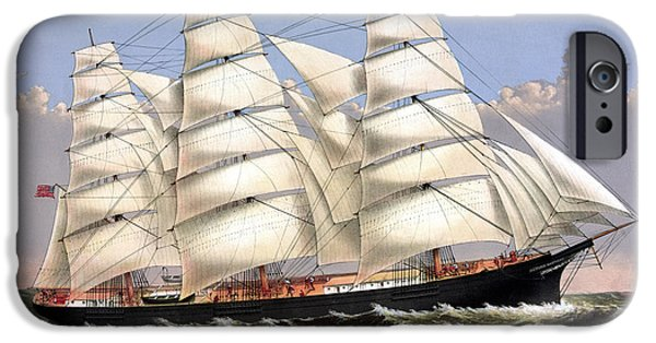 Sailing iPhone Cases - Clipper Ship Three Brothers iPhone Case by War Is Hell Store