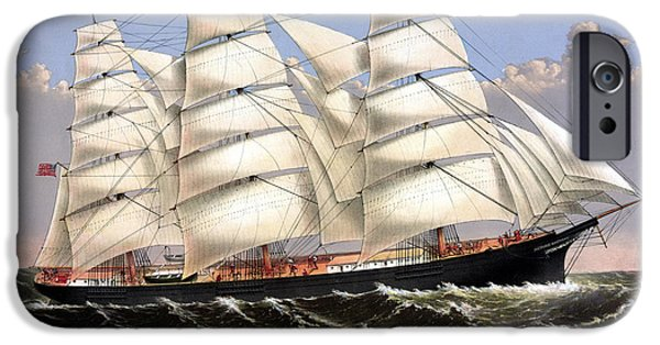 Sailing Ships iPhone Cases - Clipper Ship Three Brothers iPhone Case by War Is Hell Store