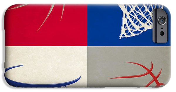 Dunk iPhone Cases - Clippers Ball And Hoop iPhone Case by Joe Hamilton