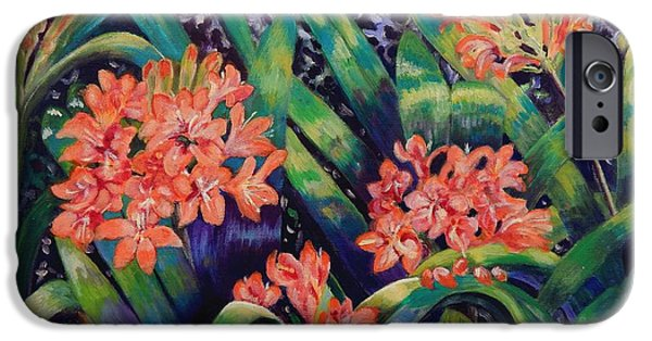 Carolinestreetart iPhone Cases - Clivias in Bloom iPhone Case by Caroline Street