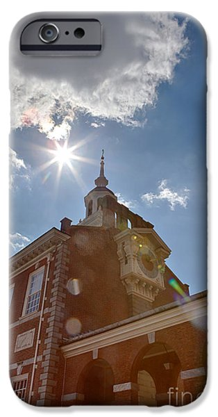 Clock at Independence Hall iPhone Case by Kay Pickens