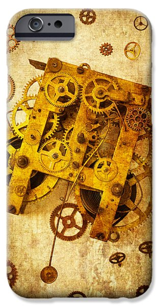 Gear iPhone Cases - Clock Gears iPhone Case by Garry Gay