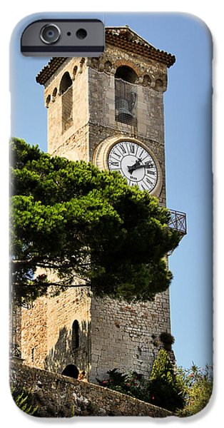 Interior Scene iPhone Cases - Clock Tower - Cannes - France iPhone Case by Christine Till