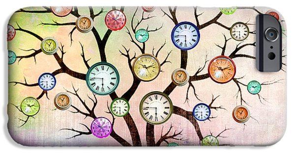 Orsillo iPhone Cases - Clock Tree  iPhone Case by Mark Ashkenazi