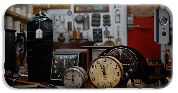 Clock Shop iPhone Cases - Clocks Keeping Time in an Antique Shop iPhone Case by Amy Cicconi