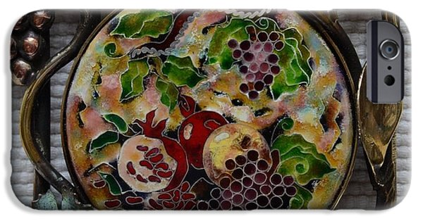 Food And Beverage Glass Art iPhone Cases - Cloisonne Enamel Fine Miniature Nature Morte in Handcrafted Brass Frame iPhone Case by Nino Berdzenishvili
