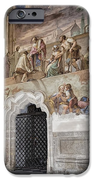 Famous Figures iPhone Cases - Cloister Fresco iPhone Case by Joan Carroll
