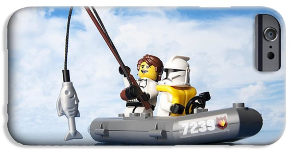 Toy Boat iPhone Cases - Clone trooper fishing trip iPhone Case by Samuel Whitton