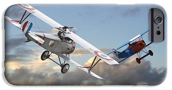 Fokker D V11 iPhone Cases - Close Quarters iPhone Case by Pat Speirs