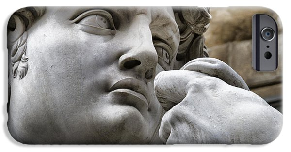 Bible Photographs iPhone Cases - Close-up face Statue of David in Florence iPhone Case by David Smith