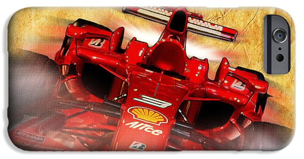 Indy Car iPhone Cases - Close-up of a Ferrari iPhone Case by Stefano Senise