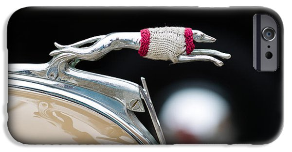 Dog Photography iPhone Cases - Close-up Of A Hood Ornament Of Fords iPhone Case by Panoramic Images