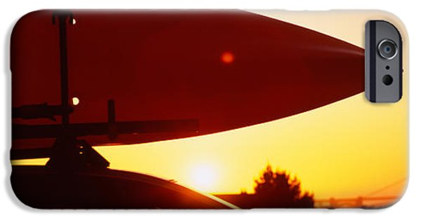Land Vehicle iPhone Cases - Close-up Of A Kayak On A Car Roof iPhone Case by Panoramic Images