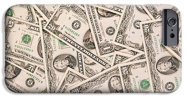Finance iPhone Cases - Close-up Of A Pile Of Us Dollar Bills iPhone Case by Panoramic Images