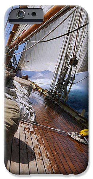 Mode Of Transport iPhone Cases - Close-up Of A Sailboat Deck iPhone Case by Panoramic Images