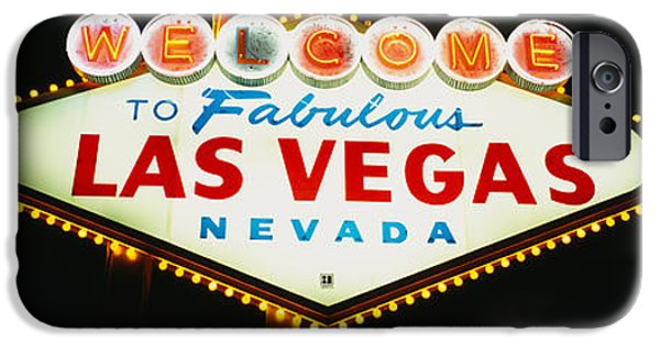 Sign iPhone Cases - Close-up Of A Welcome Sign, Las Vegas iPhone Case by Panoramic Images