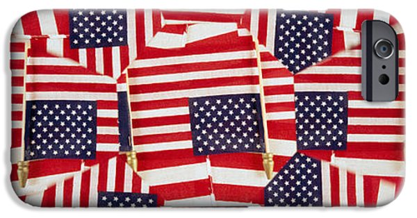 American Flag iPhone Cases - Close-up Of American Flags iPhone Case by Panoramic Images