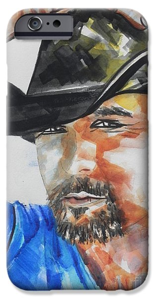Child iPhone Cases - Country Singer Tim McGraw 01 iPhone Case by Chrisann Ellis