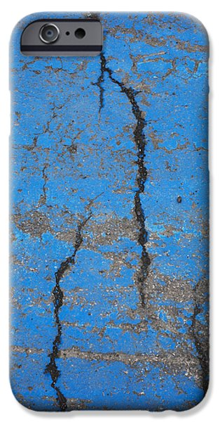 Close Up Of Cracks On A Blue Painted iPhone Case by Perry Mastrovito