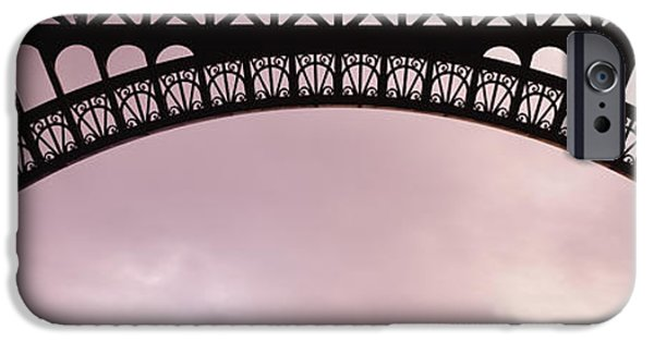 Grey Clouds Photographs iPhone Cases - Close Up Of Eiffel Tower, Paris, France iPhone Case by Panoramic Images