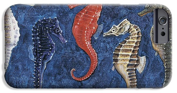 Biology iPhone Cases - Close-up of five seahorses side by side  iPhone Case by English School