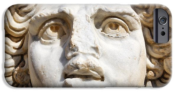 Leptis Magna iPhone Cases - Close up of Sculpted Medusa head at the Forum of Severus at Leptis Magna in Libya iPhone Case by Robert Preston