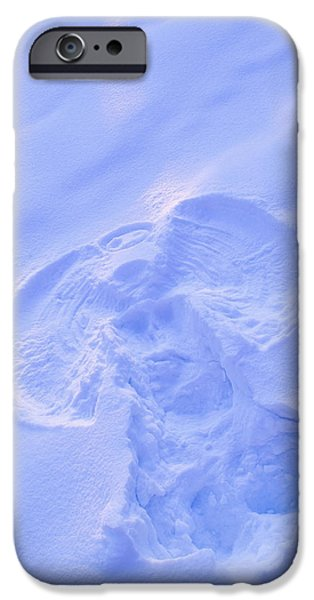 Angel Blues iPhone Cases - Close Up Of Snow Angel At Sunset With iPhone Case by Kevin Smith