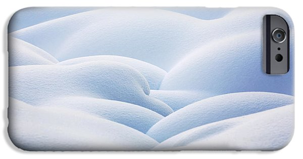 Drifting Snow Photographs iPhone Cases - Close Up Of Snow Covered Round iPhone Case by Michael Interisano