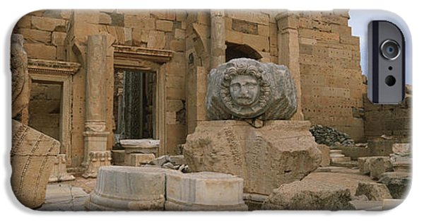 Leptis Magna iPhone Cases - Close-up Of Statues In An Old Ruined iPhone Case by Panoramic Images