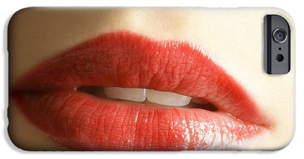 Lips iPhone Cases - Close Up Of Womans Mouth iPhone Case by Don Hammond