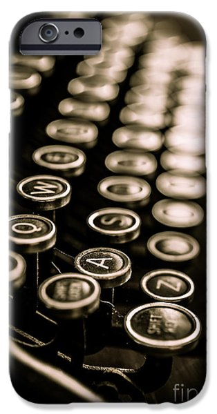 Keyboard iPhone Cases - Close up vintage typewriter iPhone Case by Edward Fielding