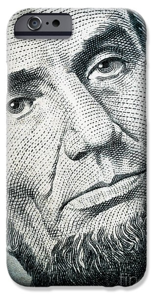 Honest Abe iPhone Cases - Closeup of a five dollar bill iPhone Case by Amy Cicconi