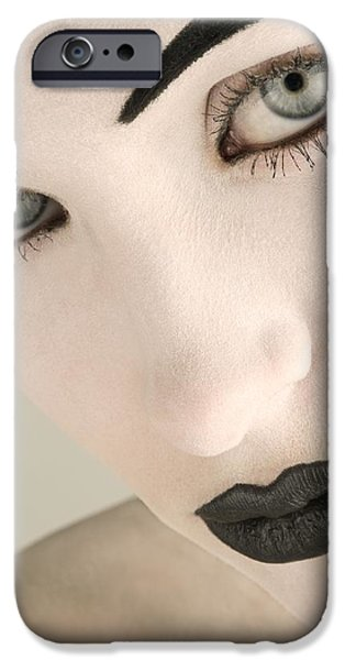 Closeup Of A Womans Face iPhone Case by Darren Greenwood