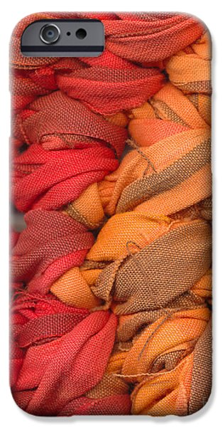 Abstracts Tapestries - Textiles iPhone Cases - Closeup of crochet rag rug iPhone Case by Kerstin Ivarsson