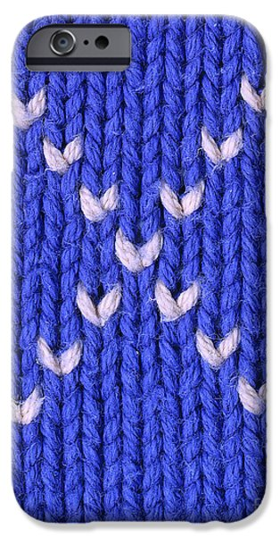 Flag Tapestries - Textiles iPhone Cases - Closeup of knitted textile iPhone Case by Kerstin Ivarsson